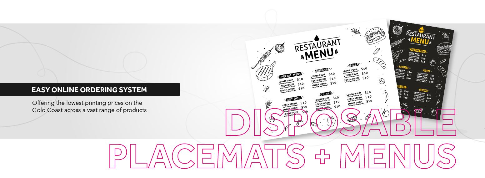 Banner disposable menu/placemat